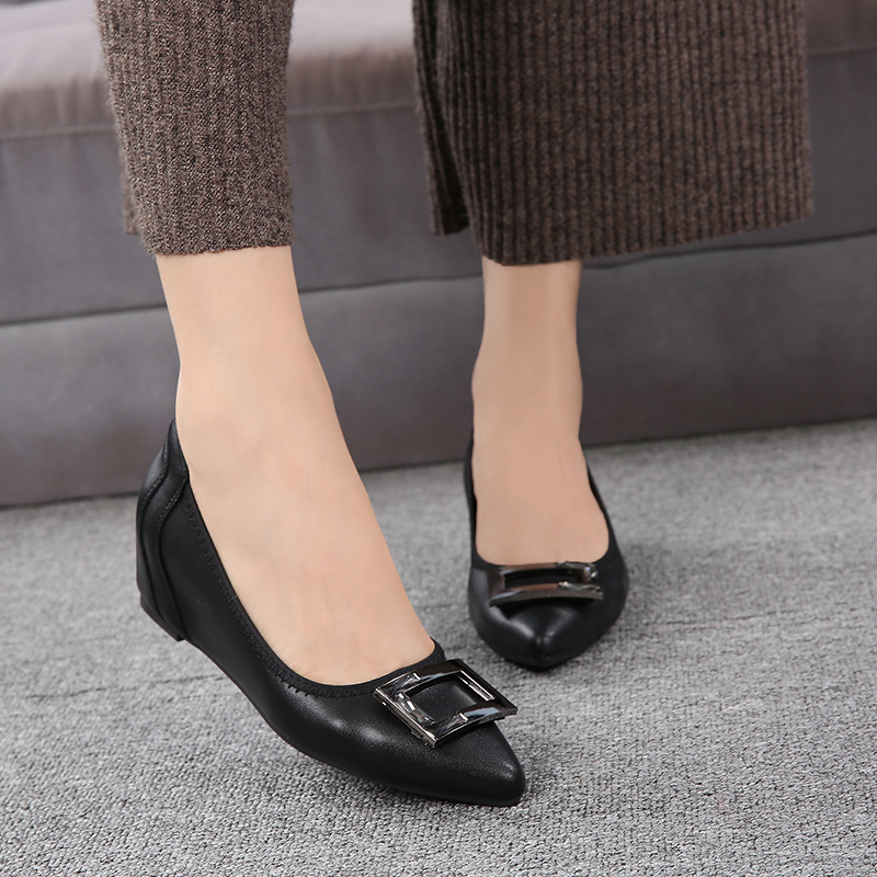 Gray/Black Soft Leather women 4cm pumps,Office ladies must-have middle heel wedges pumps elegant buckle Pink/Apricot shoes Sale