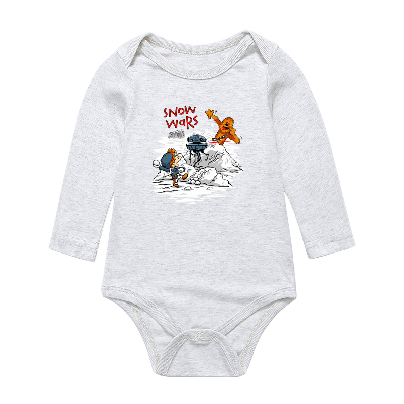 Baby Cartoon Star Wars Print Bodysuits Cute Infant Newborn Boys Girls Long Sleeve Clothes Jumpsuits Pure Cotton Toddler Playsuit
