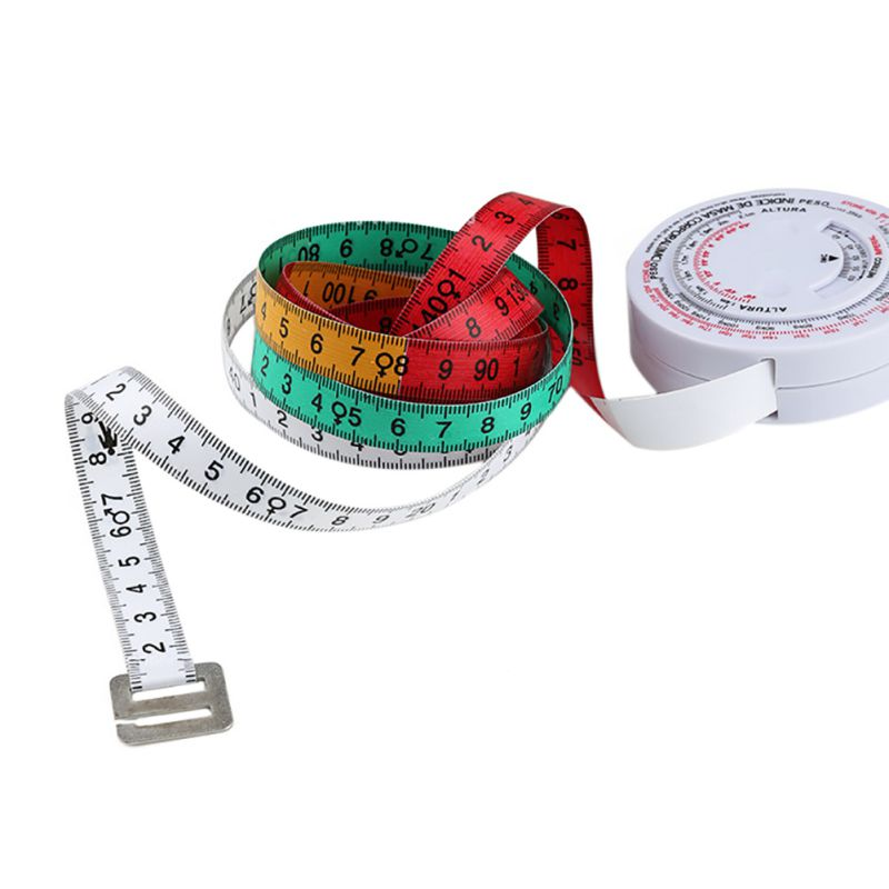 BMI Body Mass Index Retractable Tape 150cm Measure Calculator Diet Weight Loss Tape Measures Tools Sewing Ruler Accessories