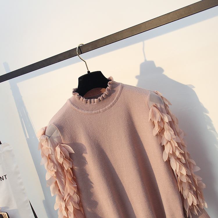 HLBCBG Ruffled Collar Knitted Women Sweater Spring Autumn Loose Jumper Fashion Flowers Sleeves Sweater and Pullover Femme Pull 12