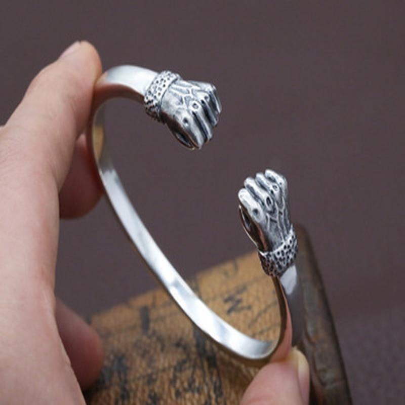 100% Настоящее серебро 925 пробы Творческий кулак браслет для мужчин женщин тайский серебряный открытие браслет качественный ЮВЕЛИРНЫЙ Рожде