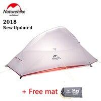 Naturehike 2018 최신 업데이트 cloudup 2 인 초경량 야외 하이킹 텐트 20d 패브릭 방수 캠핑 텐트 무료 매트
