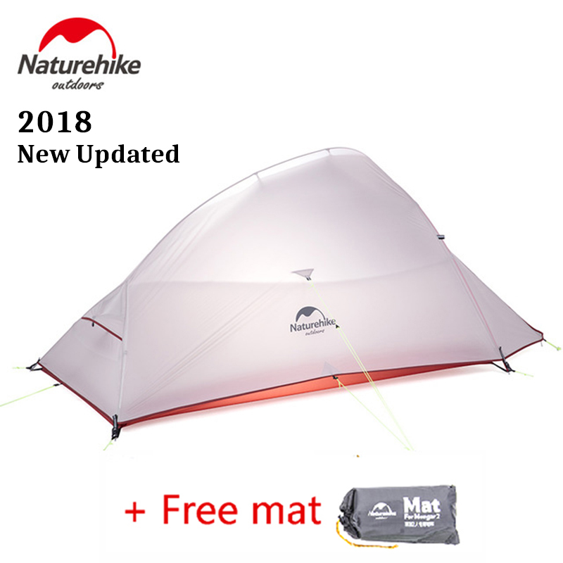 Naturehike 2018 Newest Updated CloudUp 2 Person Ultralight Outdoor Hiking Tent 20D Fabric Waterproof Camping Tent With Free Mat naturehike cloud up series 1 2 3 person camping tent outdoor ultralight camp hiking waterproof tent with free mat