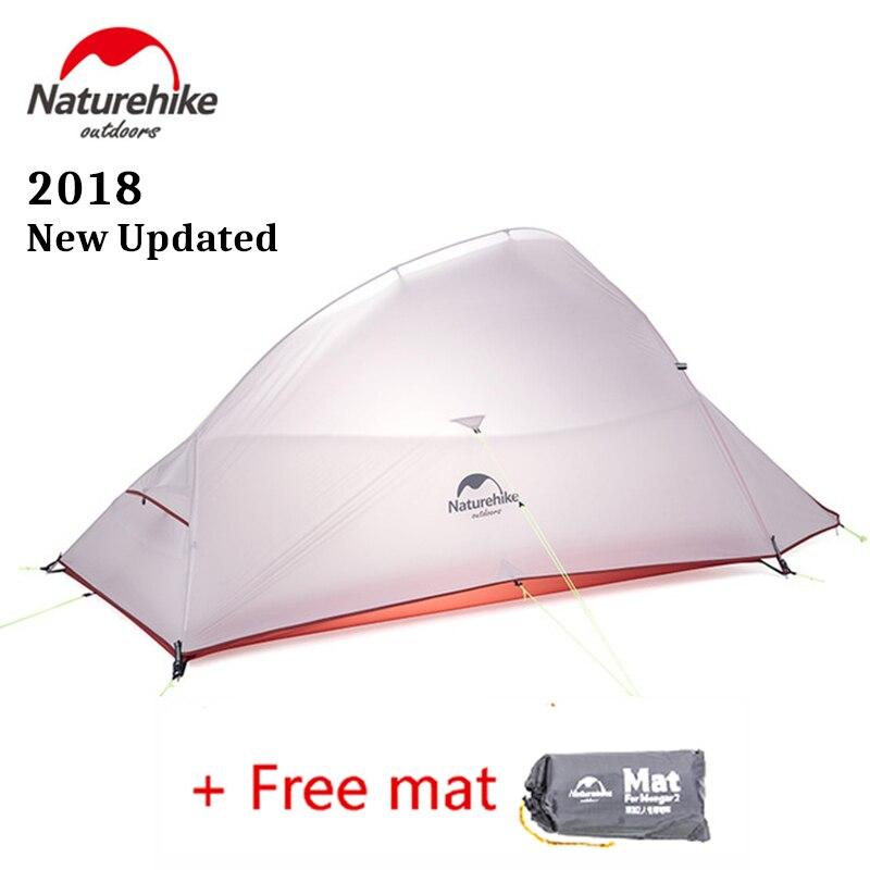 Naturehike 2018 nuevo CloudUp actualizado 2 personas ultraligero al aire libre tienda de senderismo 20D tela impermeable tienda de campaña con alfombra gratis