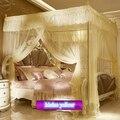 Neu aufgeführt moskito net für sommer bett netting baldachin mit vier ecken bett vorhang romantische spitze palace stil königin könig größe