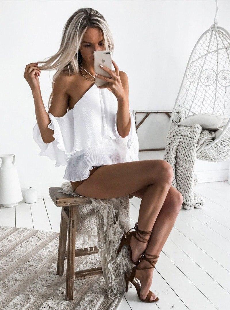 Nouveau Sexy femmes hors épaule licou à manches courtes lâche T-shirt volants dames décontracté coton t-shirts hauts solide vêtements USA Stock