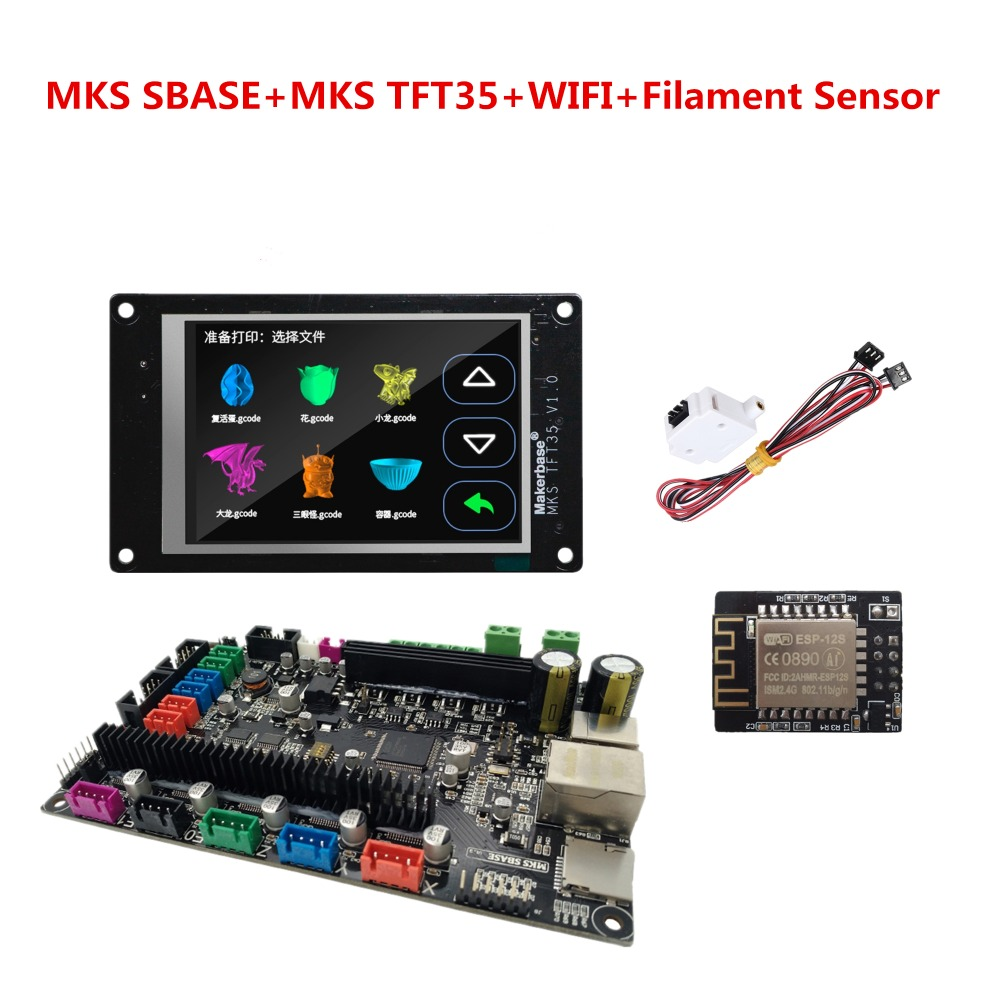 MKS SBASE + MKS TFT35 + MKS + WIFI + sensor de filamento Smoothieware 3D impresora controlador placa base + tocar pantalla LCD