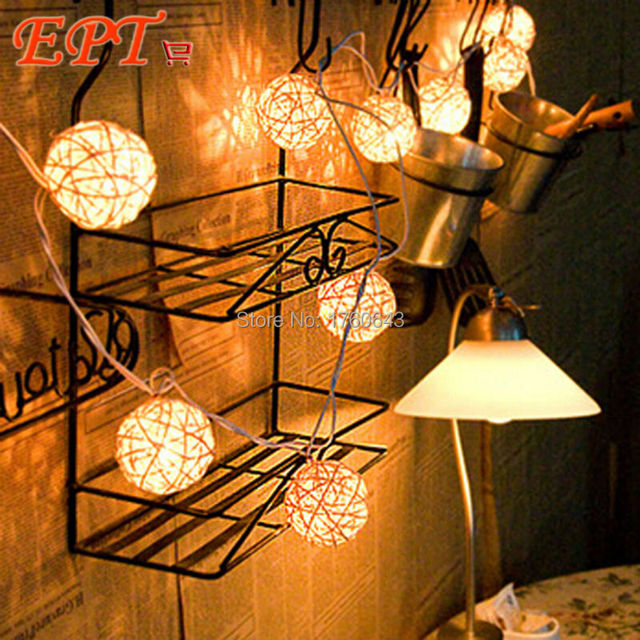 5M 20 LED EU/US Warm White Rattan Ball LED String Lighting Holiday Christmas Wedding Party Curtain Decoration Lights Drop