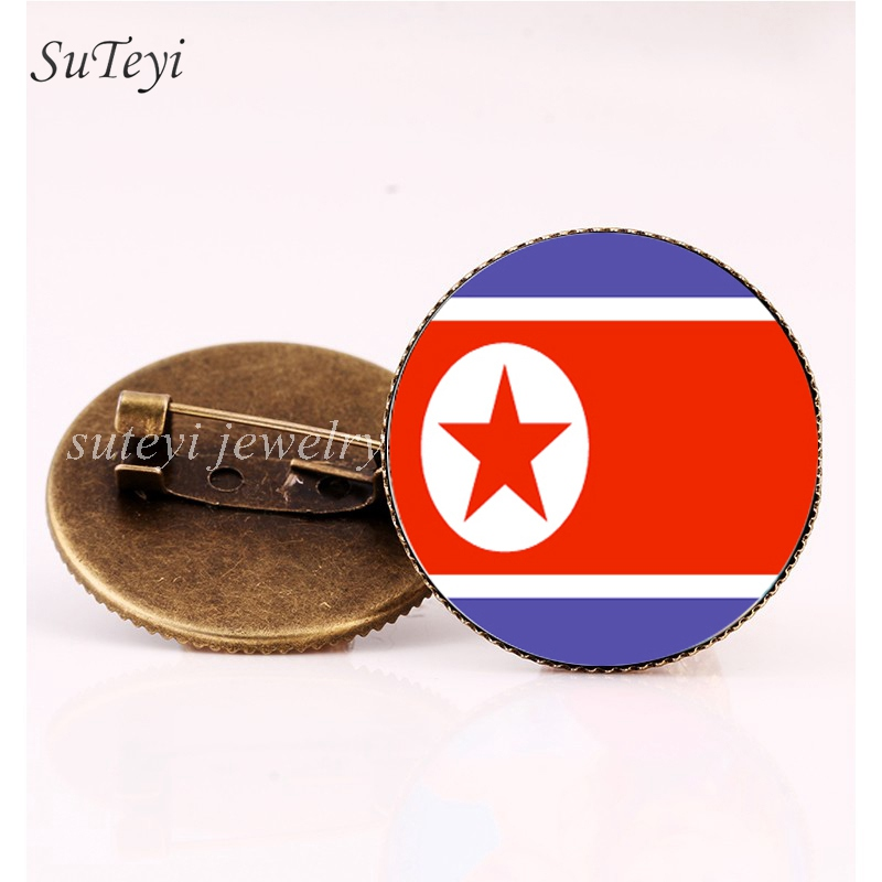SUTEYI Pakistan/Palestine Badges Pattern Brooch Bahrain/Bhutan/North Korea Flag Glass Dome Pins Brooches Women Handmade Jewelry image