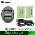 Kingma NB-12L bateria carregador duplo + NB12L para PowerShot G1 X Mark II G1X Mark 2 para PowerShot N100 N100 VIXIA mini X