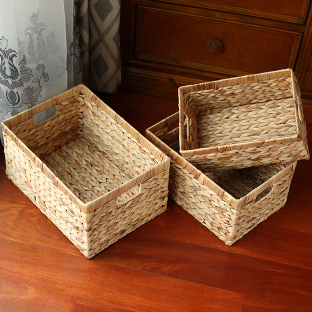 Storage Baskets Containers Natural Water Hyacinth Rectangular Storage Bins  Organizer Box Metal Frame Woven Straw Baskets