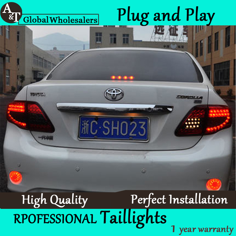 A&T Car Styling for Toyota Corolla Taillights 2007-2010 Altis LED Tail Light Altis Rear Lamp DRL+Brake+Park+Signal union car styling for 2014 corolla taillights new corolla altis led tail lamp altis rear lamp drl brake park signal led light