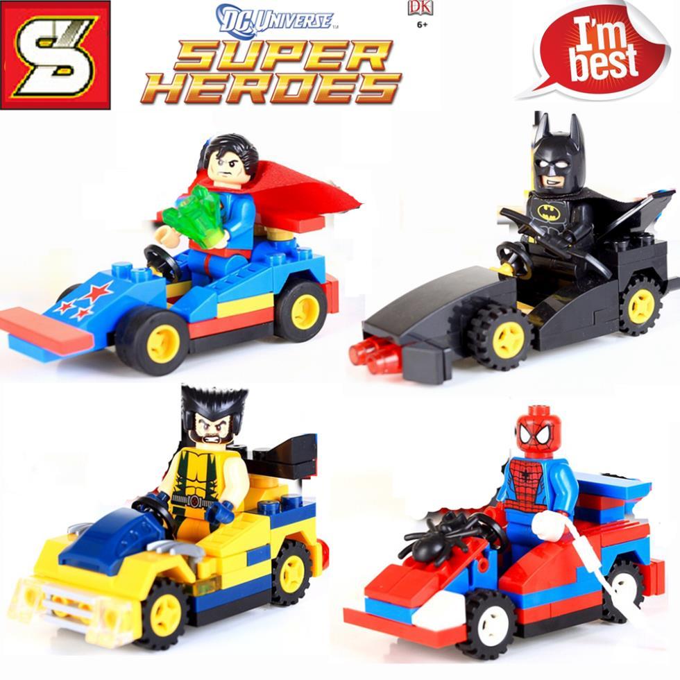 4sets Super Heroes BatMan Wolverine Super Man Spider Man
