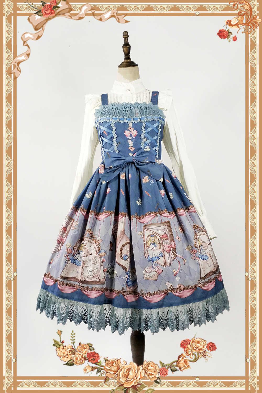 O Livro De Terra Misteriosa da Alice ~ Impresso Doce Lolita Vestido JSK por Infanta