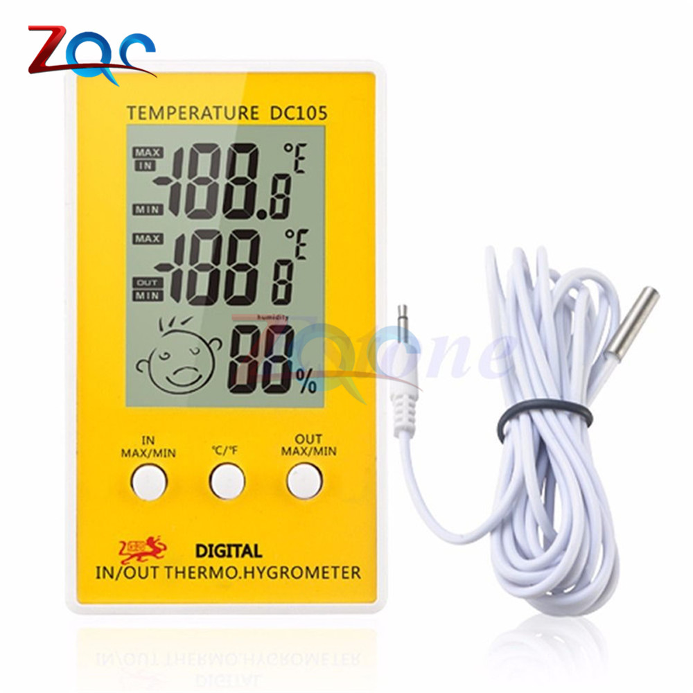 Digital LCD Indoor Outdoor Humidity Thermometer Hygrometer Meter Probe Cable C/F LCD Meteo Weather Station Diagnostic-tool mini 2 0 lcd car indoor thermometer hygrometer black 10 c 50 c 20% 95% rh 1 x lr44