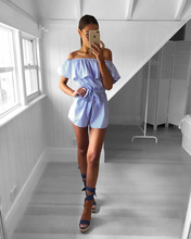 Striped Jumpsuit Sexy Bodysuit Romper Women Off Shoulder Summer Mono Mujer Playsuit Casual Overalls Short Trousers Combishort