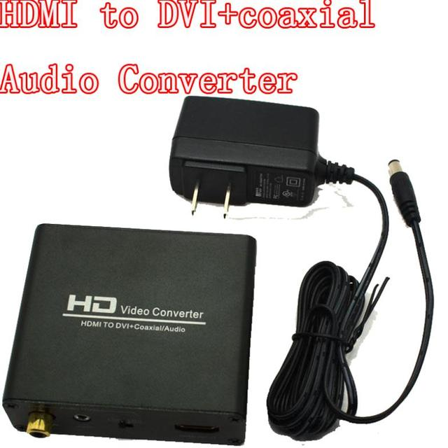 HDMI to DVI + coaxial Audio Converter adapter Support HDMI 1.3 HDCP analog stereo and coaxial digital audio output