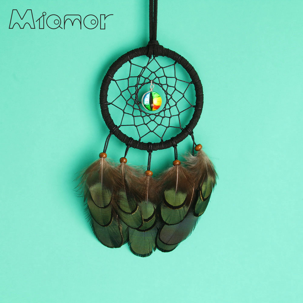 MIAMOR Small Cat & Evil Eye Dreamcatcher With Green Feather Car Pendant Decor & Home Wall Art Decoration Accessories Amor0731