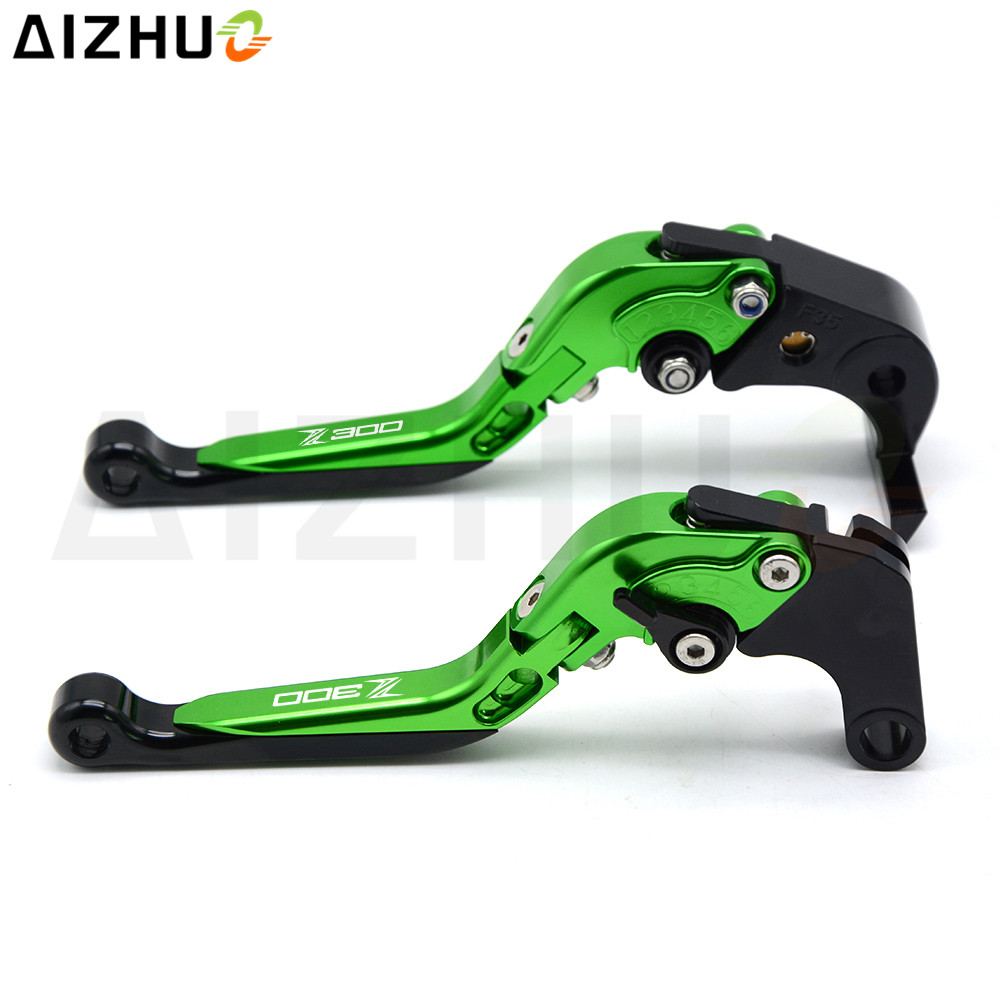 Motorcycle CNC Aluminum Adjustable Folding Extendable Clutch Lever Brake Levers For Kawasaki Z300 Z 300 Z300ABS 2008-2017