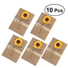10PCS Kraft Paper Greeting Cards With Dried Flower Thank You Cards Christmas Gift Cards Wedding Birthday Invitation Card vintage wedding business invitation cards embossed paper greeting cards birthday postcards thank you cards 10pcs lot