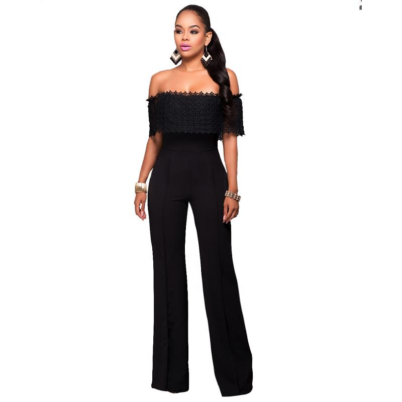 Slash Neck Plus Size Women Stright Loose Elegant Work Rompers Full Length Overalls Sexy Brand New Fashion Jumpsuits Black White