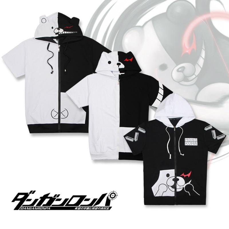 New Danganronpa Monokuma Cosplay Costume Unisex Solid Cotton Hoodie Zipper Sweatshirt Short Sleeve Black White Bear T-shirt Coat
