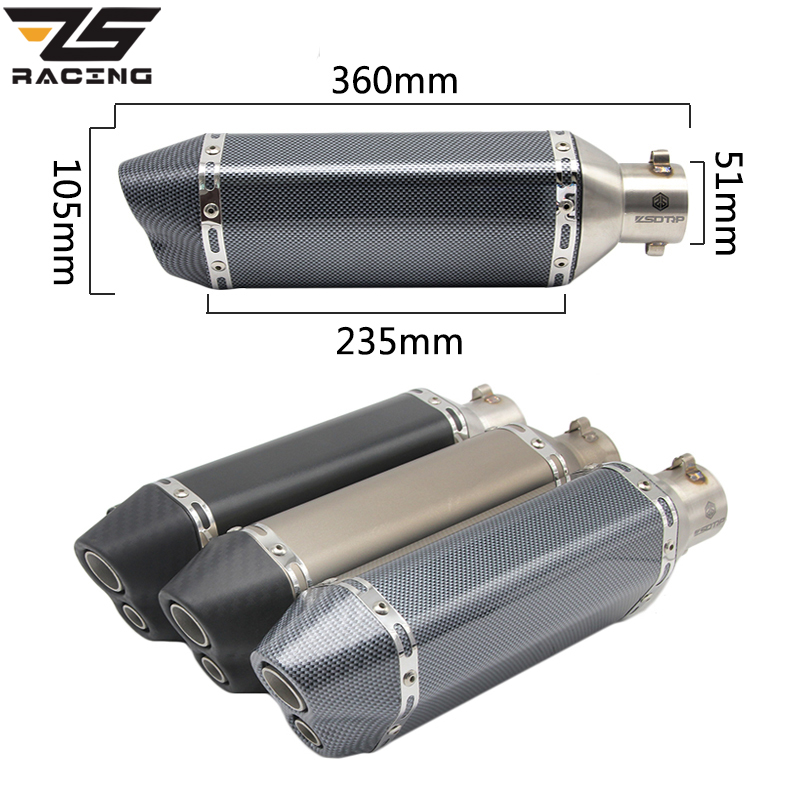 ZS Racing Universal Motorcycle Scooter Modified Akrapovic Double Holes Muffler Exhaust Pipe CBR 125 CB400 CB600 YZF FZ400 Z750 modified akrapovic exhaust escape moto silencer 100cc 125cc 150cc gy6 scooter motorcycle cbr jog rsz dirt pit bike accessories