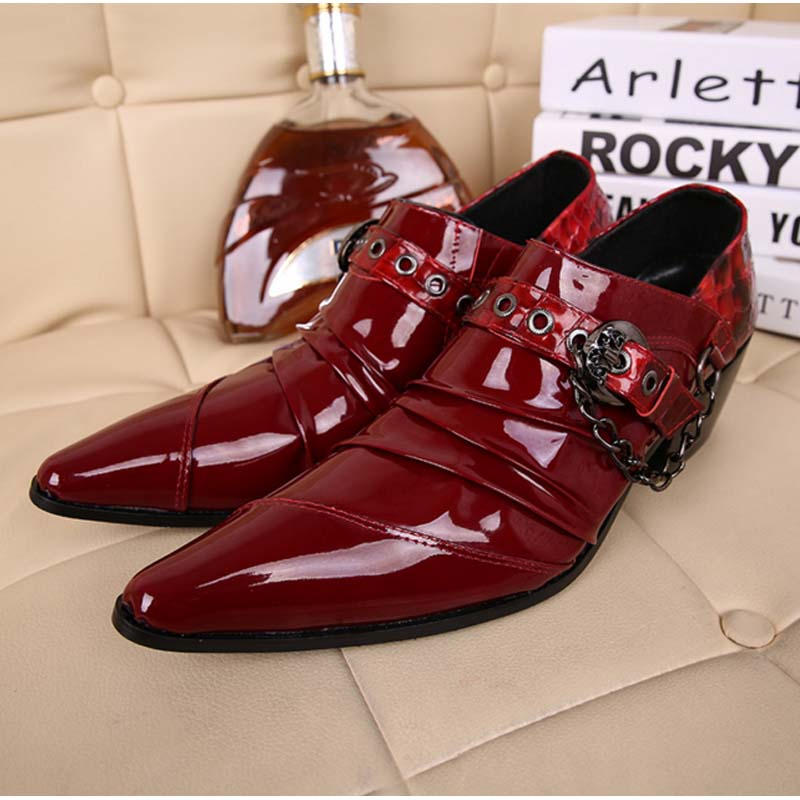 Patent Leather Men Dress Shoes Chain Buckle Pointed Toe Pleated Buiness Shoes High Heels Zapatos Hombre Fashion Genuine Leather