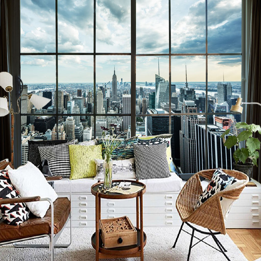 US $8.86 56% OFF|Custom Photo Wallpaper New York City Building Window  Landscape Photography Mural House Decoration Living Room Decoration  Murale-in ...