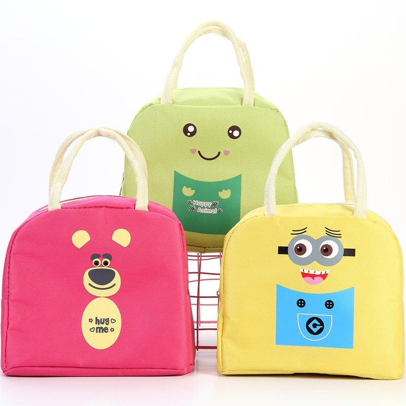 Cartoon Tier Kinder Mittagessen Tasche Wasserdicht Oxford Tuch Handheld Picknick Tasche Gestreiften Mittagessen Tasche Thermo Kühler Isolierte Taschen