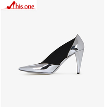THIS ONE Mixed Colors Genuine Leather Women's High Heels Shoes Pointed Toe Women Shoes Fashion Women Pumps Office Shoes
