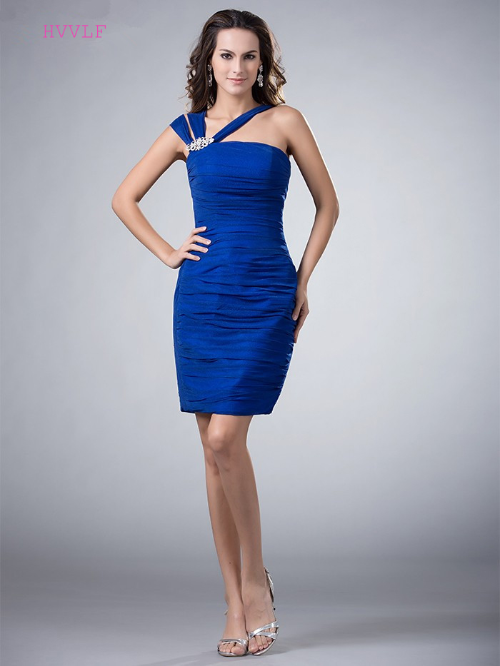 Royal Blue 2019 Elegant   Cocktail     Dresses   Sheath One-shoulder Short Mini Chiffon Backless Plus Size Party Homecoming   Dresses