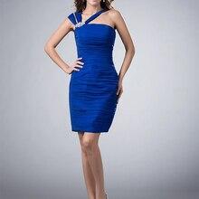 Royal Blue Elegant Cocktail Dresses Sheath One-shoulder Shor
