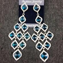 Luxury earrings fashion blue sparkling elegant gem earrings peacock blue crystal drop earring Fashion Jewelry For Woman