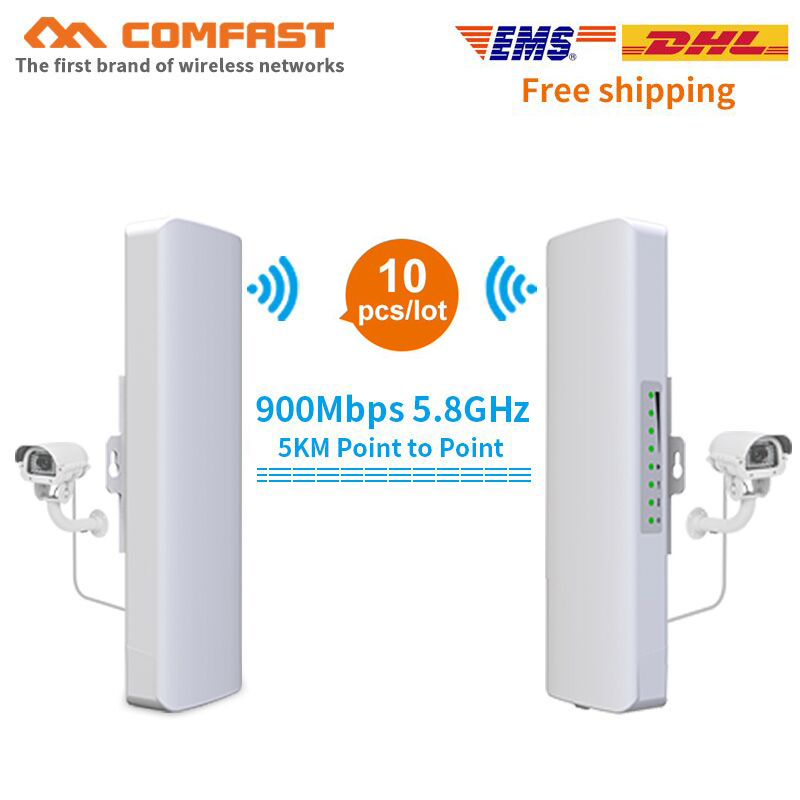 10pcs 3-5KM Long Range Outdoor CPE 900Mbps Wireless Bridge Access Point Antenna CF-E313AC Wifi Repeater POE Router For IP Camera