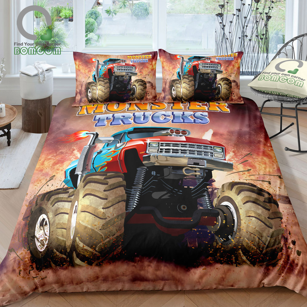 BOMCOM 3D Digital Printing Monster Truck Off Road Mud Fighting Crazy Monster Truck Duvet Cover Sets