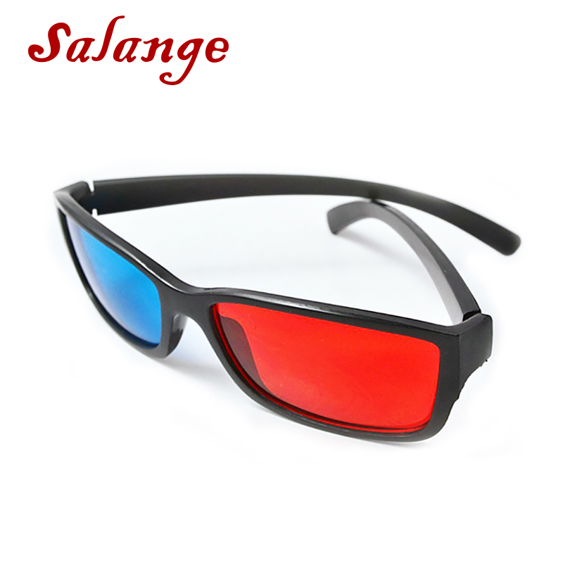 Universal Black Frame Red Blue Cyan Anaglyph 3D Glasses 0.2mm Cheap 3D Glasses For LED Projector <font><b>Movie</b></font> Game DVD image