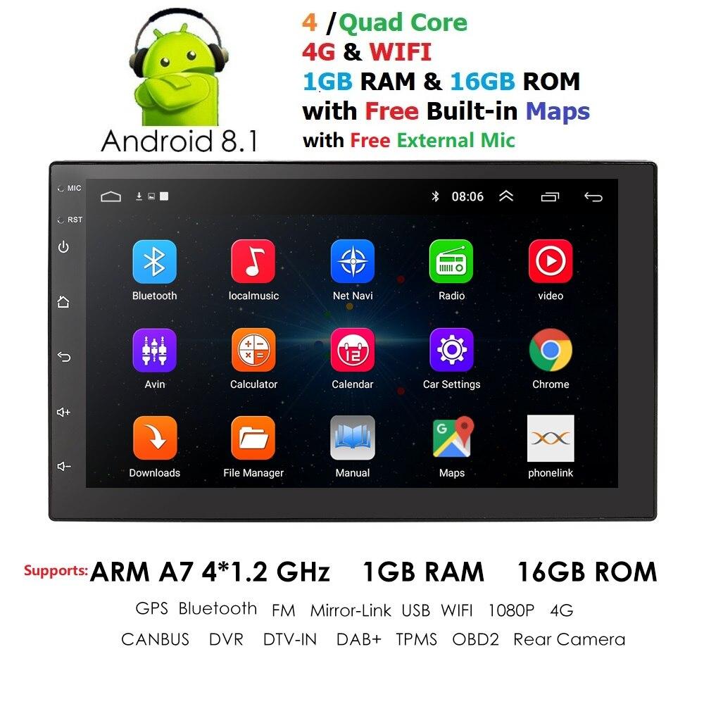 2 Din Android 8.1 Rádio Do Carro Auto Universal de Navegação GPS 1024*600 Bluetooth WI-FI DAB DVR TPMS EQ MIC controle da roda de direcção