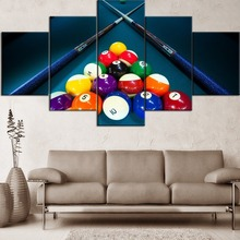 Hot Sell 5 Pieces Canvas Painting Print Game Billiards And Ball Bar Type Poster Home Decor Living Room Or Bedroom Framework майка борцовка print bar we game as romans