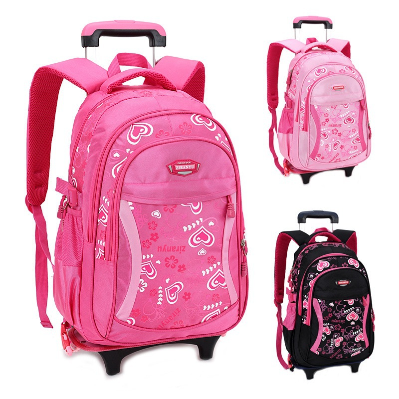 1f187db577a6 US $59.65 7% OFF|Trolley School Bag For Girls With Three Wheels Backpack  Children Travel Bag Rolling Luggage Schoolbag Kids Mochilas Bagpack -in ...
