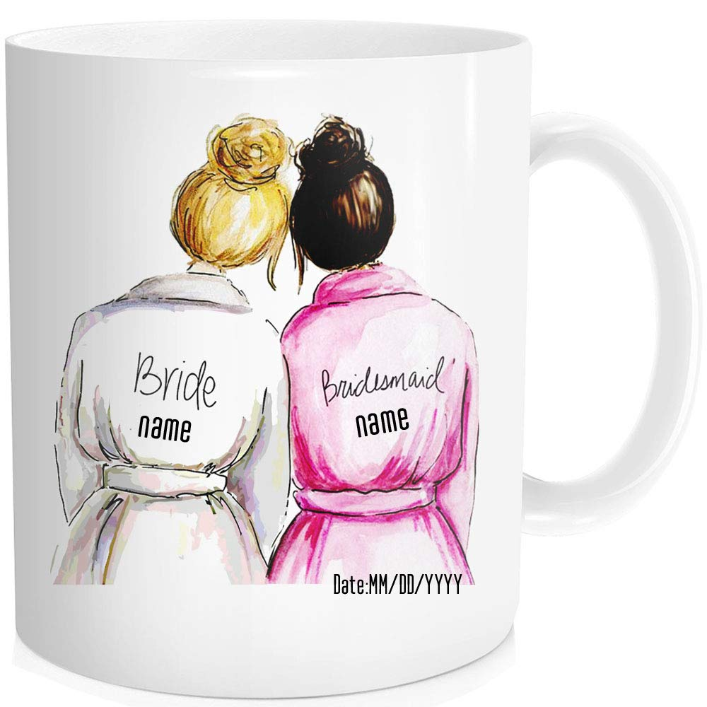 Classic Personalized Bride Maid Of Honor Gifts Custom Name Best Friend Bridesmaid Coffee Mug Tea Cup Wedding Bridal Party Favor