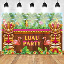 Mehofoto Luau Photography Backdrops Flamingo Tiki Aloha Party Tropical Background Photo Studio Supplies Props Photocall(China)