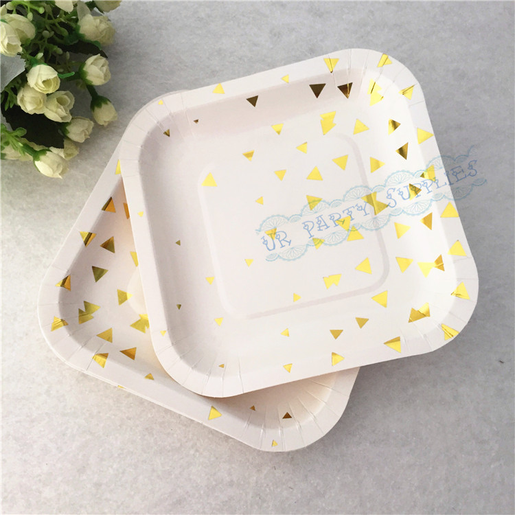 120pcs Small Square Paper Plates Foil Gold Party Paper Plates Foil Moden Party Paper Plates for Baby Shower Tableware Decor-in Disposable Party Tableware ... : square paper plates - pezcame.com