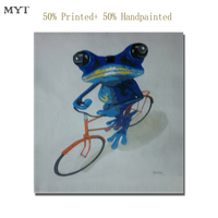 MYT Free Shipping Abstract HD Printed And 50 Handpainted Frog Bike Cow On Canvas Oil Painting