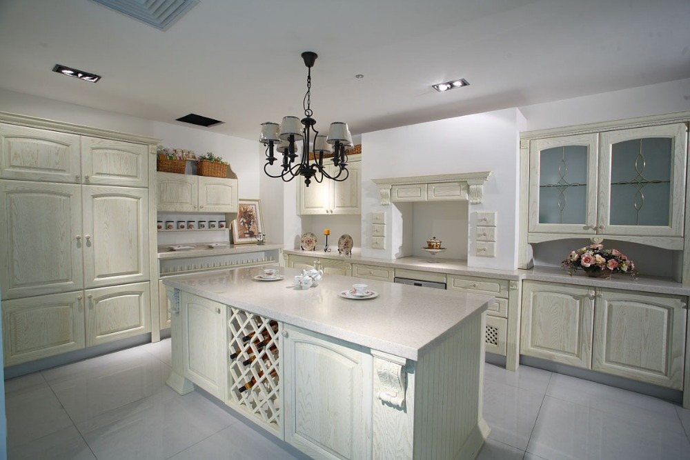 White ash wood kitchen for Russia-in Kitchen Cabinets from ...