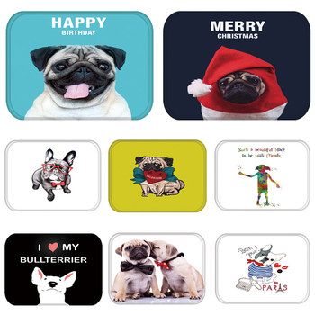 Doormat Carpet Rubber Floor Mats Entrance Pug French Bull Terrier Dog Home Decor Rug Anti-Slip Door Mat for Living Room 48228-2 image
