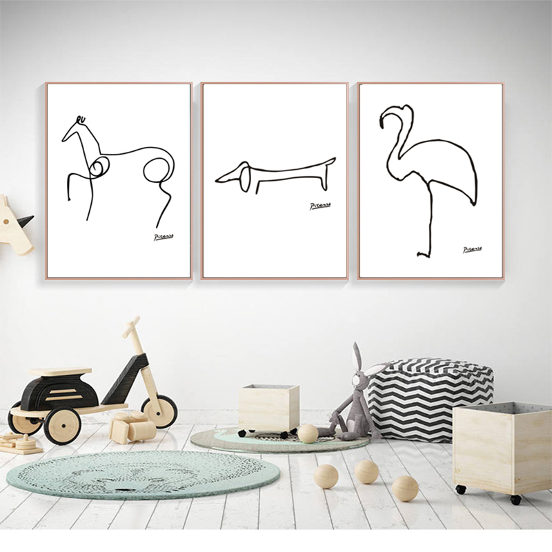 Minimalist Pablo Picasso Rezumat Pepinieră Canvas Pictura Animal Art Ulei Imagine de perete poster Imagine pentru camera de zi Home Decor Unframed