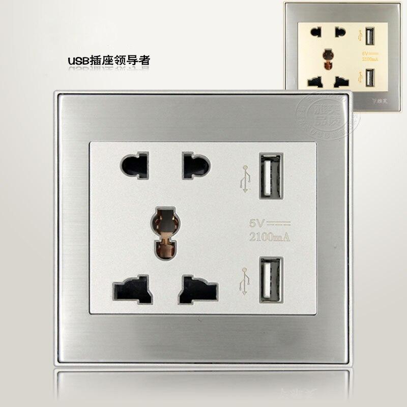 Бесплатная доставка DC5V 2100ma Универсальный USB розетки переменного тока 110-250 В США Великобритании ЕС AU розетки 2 Порты и разъёмы USB выход Мощнос…