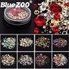 1 Box Mixed Nail Design Colorful Micro Beads and Gemstone Circle 3D Nail Art Glitter Crystal AB Non Hotfix Diamond Rhinestones