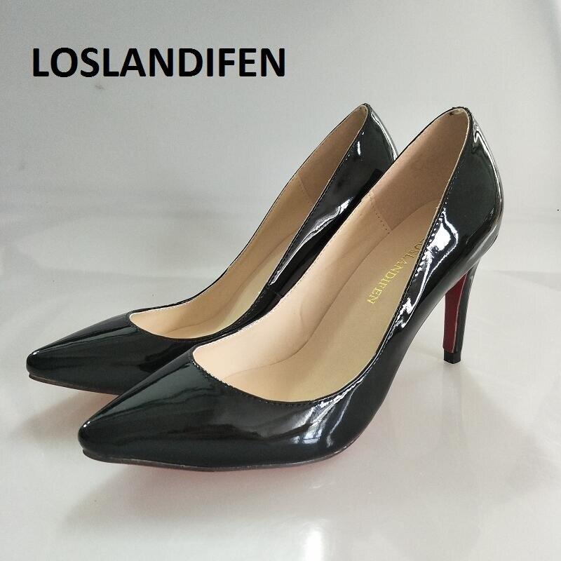LOSLANDIFEN Femmes Pompes Rouge Bas Chaussures Classiques Bout Pointu Pompes Haute Talons Chaussures 8 cm Mi Talons De Mariage Pompes Bureau femme